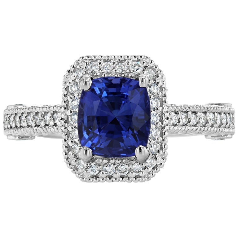 3.18 Carat Blue Sapphire Diamond Engagement Ring 14 Karat White Gold