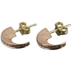 Aimee Kennedy, Champagne Diamonds Pave Edge 14 Karat Rose Gold Stud Hoops