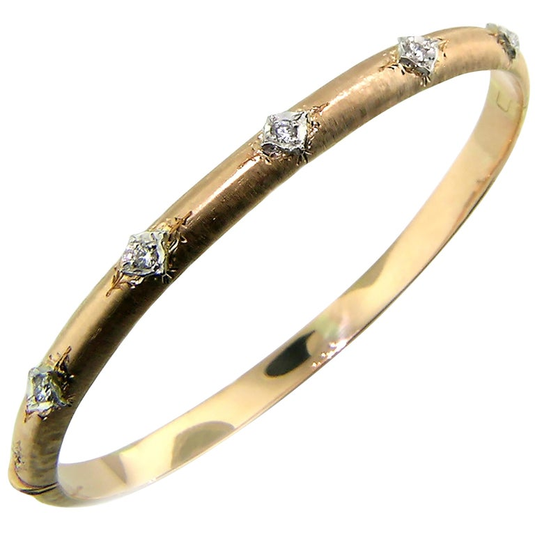 18kt & Diamond Andrea Bangle in Rose, Handmade and Engraved in Florence, Italy For Sale