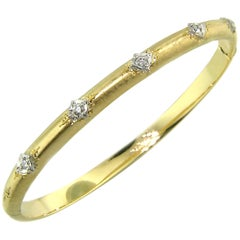 18kt Gold and Diamond Andrea Bangle, Handmade and Engraved in Florence, Italy