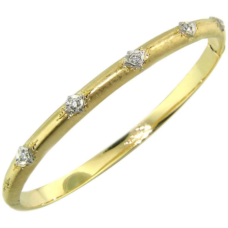 18kt Gold and Diamond Andrea Bangle, Handmade and Engraved in Florence, Italy For Sale