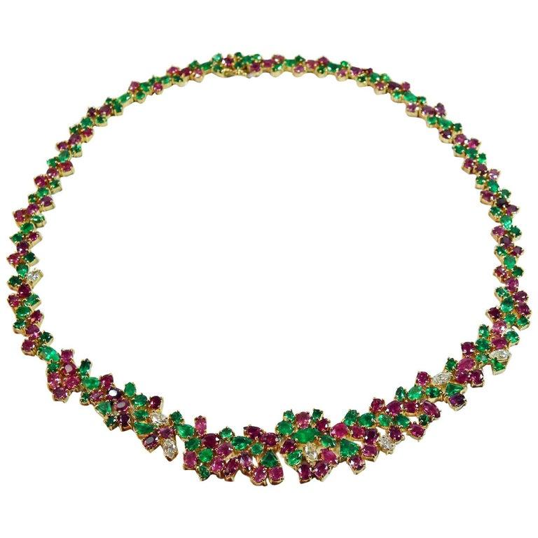 "61.00 Carat ""Tutti Frutti"" Emerald Ruby Diamond Necklace 18k Gold"