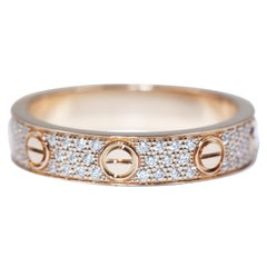 Cartier Love Wedding Band Diamond-Paved Ring in Pink Gold