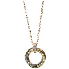 Cartier Trinity White Gold Yellow Gold Pink Gold Diamonds Necklace