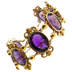Antique French Amethyst 18 Karat Gold Bracelet