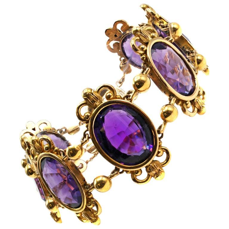 Antique French Amethyst 18 Karat Gold Bracelet For Sale
