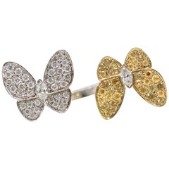 Van Cleef White Diamond Yellow Sapphire Double Butterfly Ring