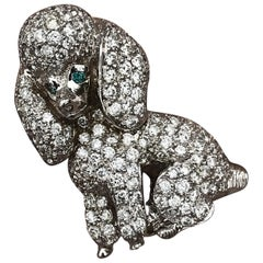 Dog Poodle Custom Brooch 18k Gold and Diamond 2+ Carat Diamonds - Ben Dannie
