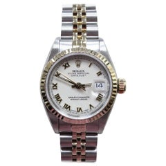 Rolex Ladies Datejust 69173 White Dial 18 Karat Yellow Gold and Stainless Steel