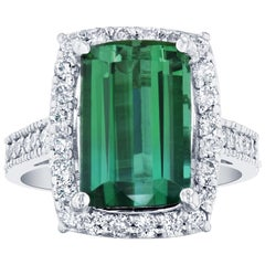 6.04 Carat GIA Certified Green Tourmaline Diamond 14 Karat White Gold Ring