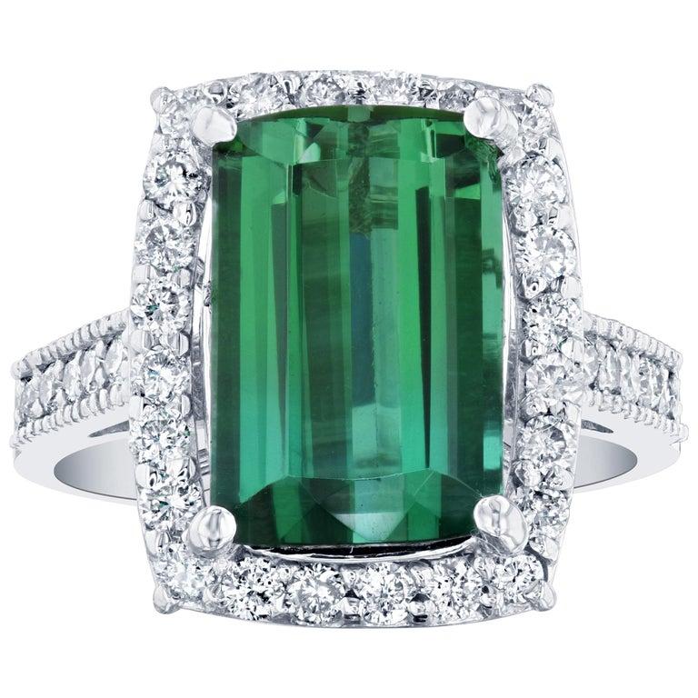 6.04 Carat GIA Certified Green Tourmaline Diamond 14 Karat White Gold Ring