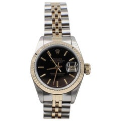 Rolex Ladies Datejust 69173 Black Dial 18 Karat Yellow Gold and Stainless Steel