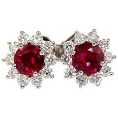 1.68 Carat Natural Burma Ruby Diamonds Cluster Earrings 14 Karat