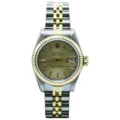 Rolex Ladies Datejust 69173 Tapestry Dial 18 Karat Gold and Steel Box and Papers