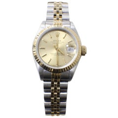 Rolex Ladies 69173 Datejust 18 Karat Gold and Stainless Steel Box and Papers