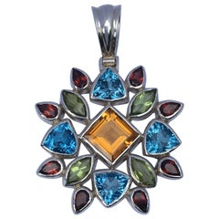 Citrine Peridot Blue Topaz and Garnet Pendant