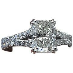 Radiant Cut Diamond Engagement Ring, Split Shank 1.5 Center, 2.1 Carat