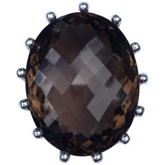 Extra large Smokey Quartz Crown Pendant Set in Sterling