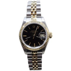 Rolex Ladies 69173 Date 18 Karat Yellow Gold and Stainless Steel Box and Papers