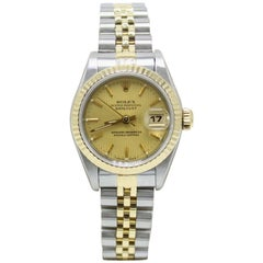 Rolex Ladies Datejust 69173 Champagne Tapestry Dial 18 Karat Gold and Stainless