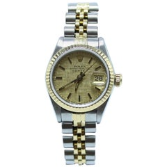 Rolex Ladies Date 69173 14 Karat Yellow Gold and Stainless Steel Box and Papers