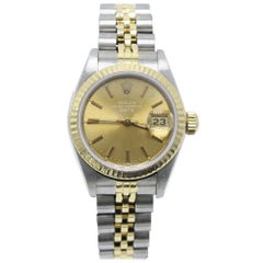 Rolex Ladies Date 69173 Champagne Dial 18 Karat Yellow Gold and Stainless Steel