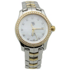 Tag Heuer Ladies Link WJF1354 MOP Diamond 18K Yellow Gold & Steel Box Papers