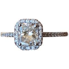 1.16 Carat TW Radiant Diamond Halo Engagement Ring H SI1 GIA, Ben Dannie