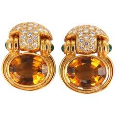 22.50 Carat Natural Yellow Citrine Diamonds Dangle Earrings 18 Karat