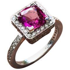 2 Carat and Cushion Natural Fancy Pink Sapphire and Diamond Ring Platinum