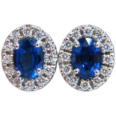 2.40 Carat Natural Sapphire Diamond Cluster Earrings 18 Karat Platinum