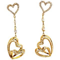 3.00 Carat Natural Diamonds Hearts on Hearts Dangle Earrings 18 Karat