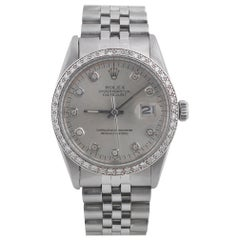 Rolex Stainless Steel Diamond Bezel Datejust Automatic Wristwatch Ref 16013