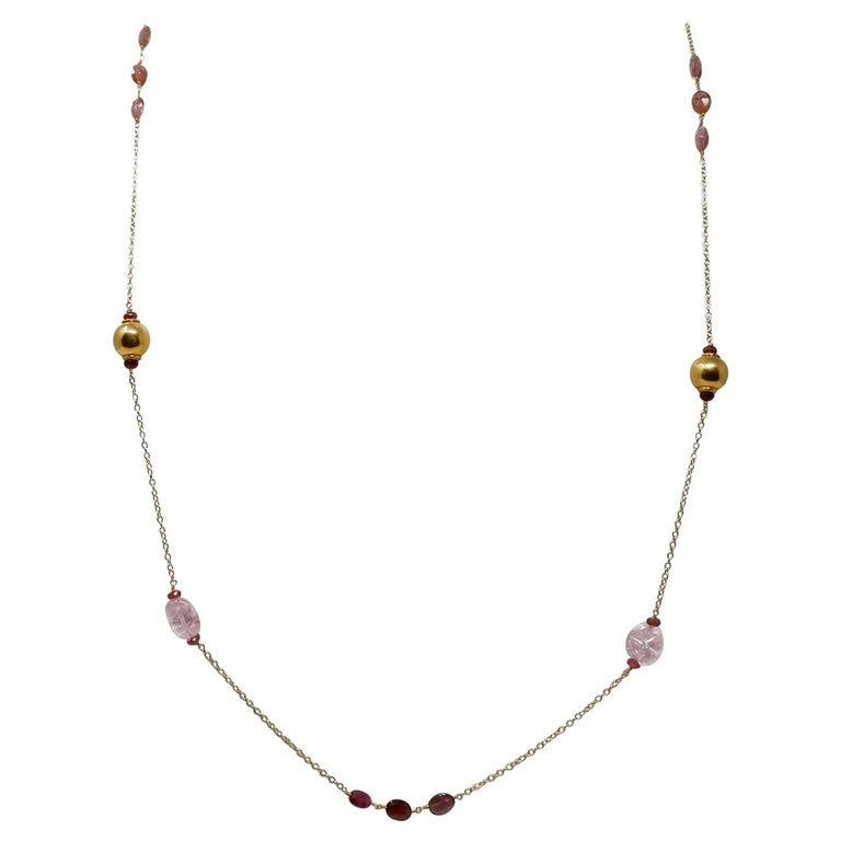 Pink Beryl and Rubellite Gold Bead Sautoir Necklace