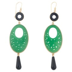 Pendant Gold Onyx and Jade