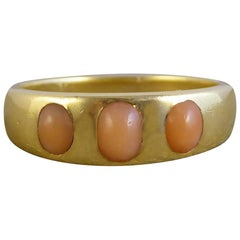 Victorian Coral Three-Stone 18 Carat Gold Band Ring