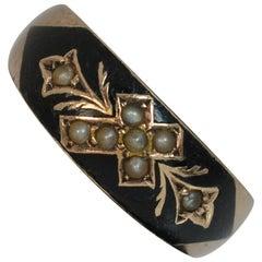 9 Carat Rose Gold Pearl Enamel Mourning Stack Band Ring