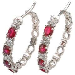 2.42 Carat Ruby 0.80 Carat Diamond 18 Karat White Gold Earings