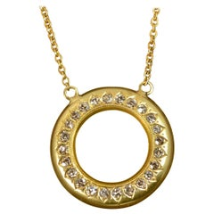 Victorian 18 Carat Gold and Natural Diamond Disc Pendant with Chain