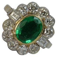 Stunning Large Emerald 1.30 Carat Old Cut Diamond 18 Carat Gold Cluster Ring