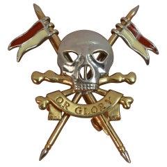 17th Lancers Death or Glory 9 Carat Gold Skull Design Brooch