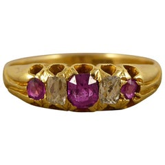 Late Victorian Ruby and Diamond Ring Set in 18 Carat Gold