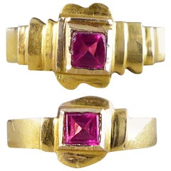 Late Victorian Red Glass and Gold Midi Baby Rings