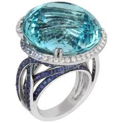 Tivon 18 Karat White Gold Blue Topaz Sapphire Diamond Cocktail Ring