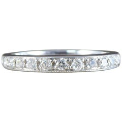 Contemporary Diamond Half Eternity 14 Carat White Gold Ring
