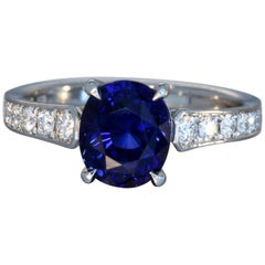 Robert Vogelsang 2.54 Carat Oval Blue Sapphire Diamond Platinum Engagement Ring