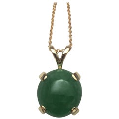 GCS Certified 4.90ct Untreated Jadeite Jade Cabochon 14k Gold Solitaire Pendant