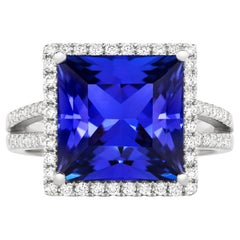 Tivon 18 Carat White Gold AAAA Tanzanite and Fine Diamond Dress Ring