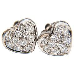 .60 Carat Diamonds Heart Cluster Earrings 14 Karat Stud