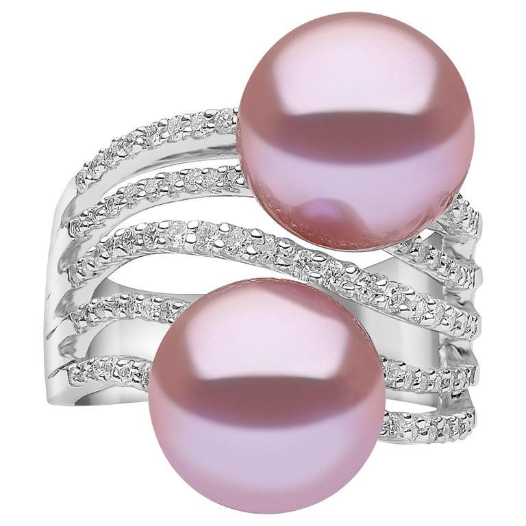 Yoko London Pearl and Diamond Ring Set in 18 Karat White Gold